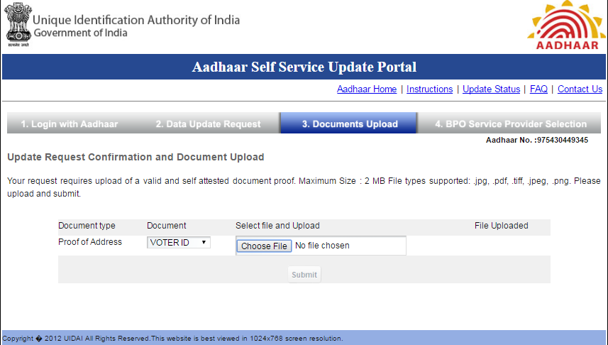 Aadhaar Update Proof Upload