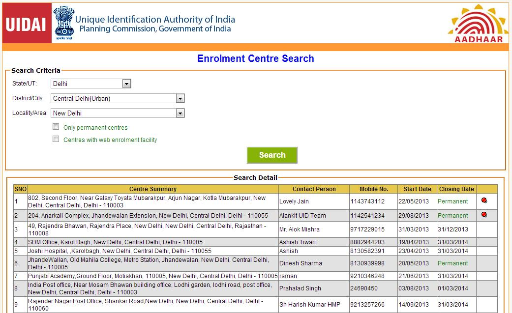 Aadhaar Enrollment Centers